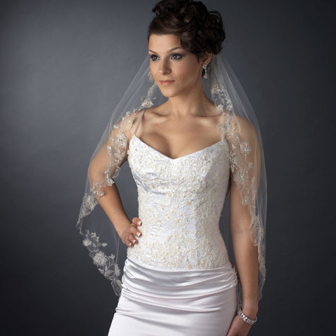 Single Layer Fingertip Length Silver Floral Embroidered Edge with Pearls & Bugle Beads Bridal Wedding Veil 2283 1F