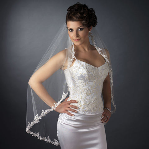Single Layer Fingertip Length Floral Embroidered Edge with Bugle Beads & Sequins Bridal Wedding Veil 2322 1F