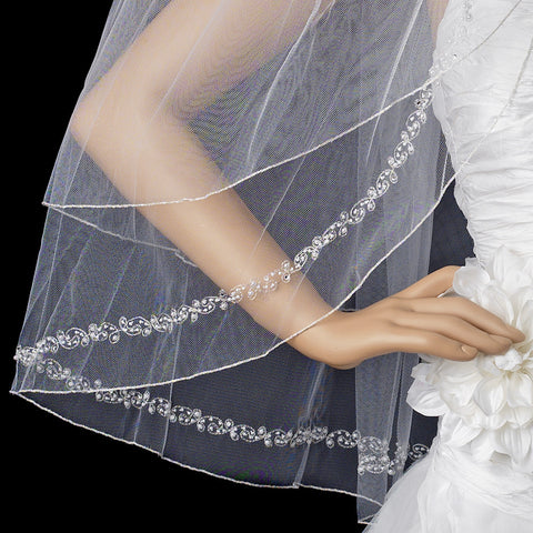 Double Layer Fingertip Length Bridal Wedding Veil with Exquisite Beaded Edge 2475