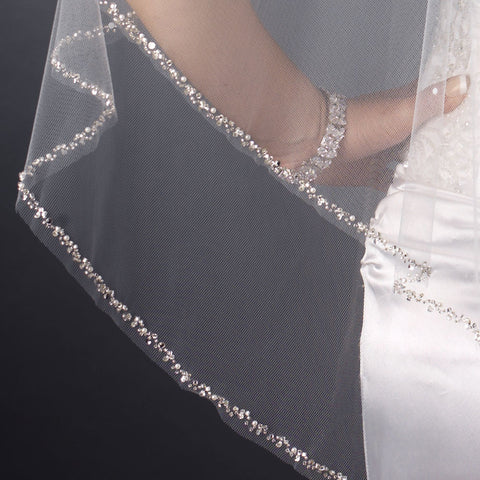 Double Layer Fingertip Length Cut Edge with Pearls, Bugle Beads & Sequins Bridal Wedding Veil 2496 F