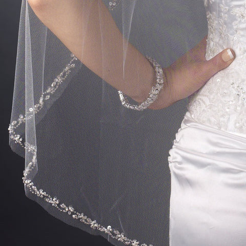 Single Layer Fingertip Length Cut Edge with Pearls, Rhinestones, Bugle Beads & Sequins Bridal Wedding Veil 2499 1F