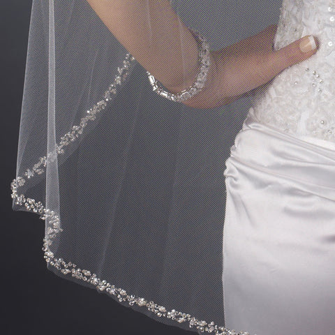 Single Layer Fingertip Length Cut Edge with Pearls, Bugle Beads & Sequins Bridal Wedding Veil 2510 1F