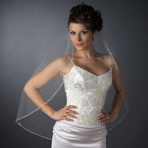 Single Layer Fingertip Length Beaded Edge with Bugle Beads & Sequins Bridal Wedding Veil 2513 1F
