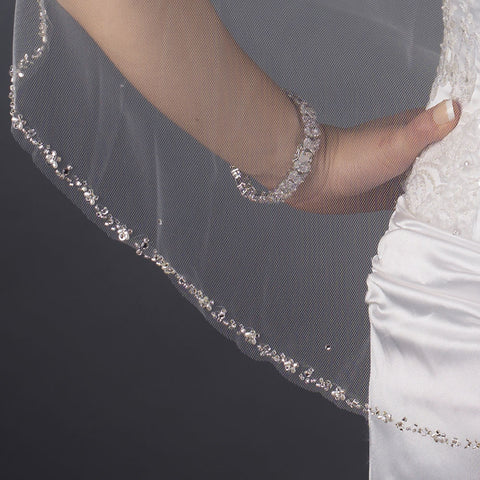 Single Layer Fingertip Length Cut Edge with Pearls, Rhinestones, Bugle Beads & Sequins Bridal Wedding Veil 2515 1F