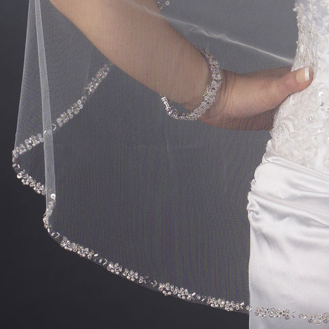 Single Layer Fingertip Length Cut Edge with Pearls, Bugle Beads & Sequins Bridal Wedding Veil 2525 1F