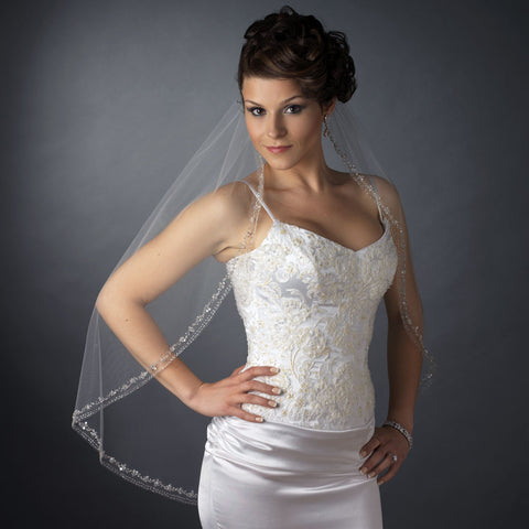 Single Layer Fingertip Length Cut Edge with Rhinestones, Bugle Beads & Sequins Bridal Wedding Veil 2526 1F
