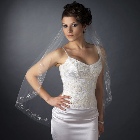 Single Layer Fingertip Length Cut Edge with Floral Vine Embroidery, Bugle Beads & Sequins Bridal Wedding Veil 2537 1F