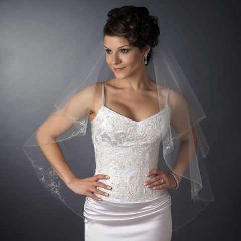 Double Layer Fingertip Length Cut Edge with Floral Embroidery, Bugle Beads & Sequins Bridal Wedding Veil 2541 F