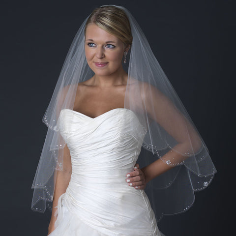 Double Layer Fingertip Length Scalloped Cut Edge Bridal Wedding Veil with Scattered Flower Crystals & Silver Stitching