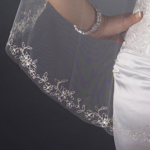Single Layer Fingertip Length Cut Edge with Floral Embroidery, Pearls, Bugle Beads & Sequins Bridal Wedding Veil 2543 1F