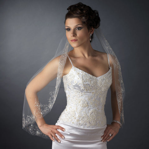 Single Layer Fingertip Length Cut Edge with Floral Embroidery, Pearls, Bugle Beads & Sequins Bridal Wedding Veil 2544 1F