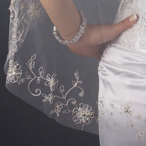 Single Layer Fingertip Length Cut Edge with Floral Embroidery with Bugle Beads & Sequins Bridal Wedding Veil 2548 1F