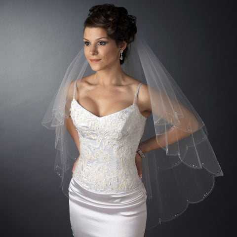 Double Layer Fingertip Length Scalloped Cut Edge with Silver Stitching & Rhinestones Bridal Wedding Veil 2554 F