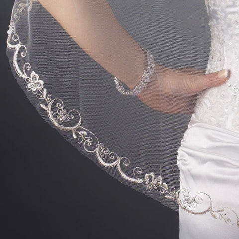 Single Layer Fingertip Length Cut Floral Swirl Embroidered Edge with Sequins Bridal Wedding Veil 2563 1F