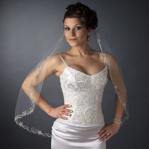 Single Layer Fingertip Length Cut Edge Bridal Wedding Veil with Swirly Embroidery, Pearls & Sequins