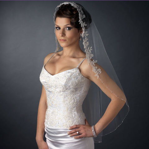 Single Layer Fingertip Length Flower Embroidery with Bugle Beads & Sequins Bridal Wedding Veil 2570 1F
