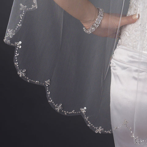 Single Layer Fingertip Length Scalloped Cut Beaded Edge Bridal Wedding Veil with Floral Beads & Sequins