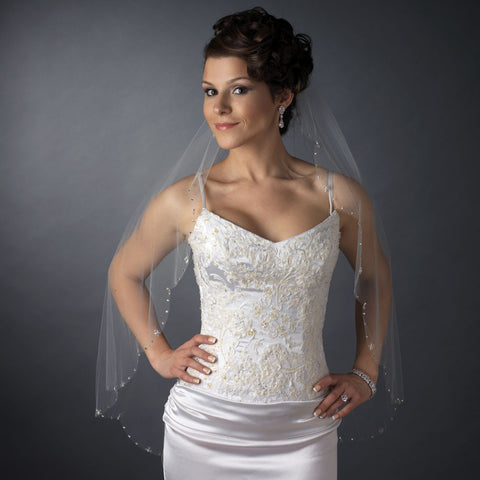 Single Layer Fingertip Length Scalloped Cut Edge with Rhinestones & Swarovski Crystal Beads Bridal Wedding Veil 2579 1F