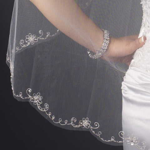 Single Layer Fingertip Length Cut Edge with Floral Embroidery, Rhinestones, Bugle Beads & Sequins Bridal Wedding Veil 2582 1F