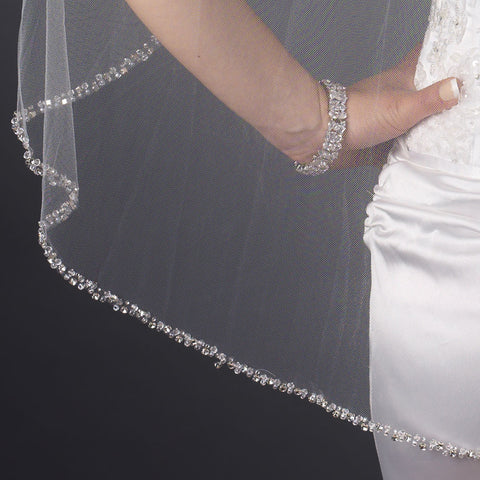 Single Layer Fingertip Length Beaded Edge with Bugle Beads & Swarovski Crystals Bridal Wedding Veil 2592 1F