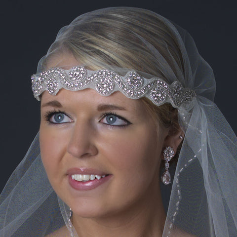 Single Layer Waltz Length Beaded Cut Edge Victorian Style Bridal Wedding Headband Bridal Wedding Veil 2658