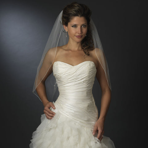 "Bridal Wedding Veil 2824 White - Fingertip Swarovski Crystal & Rhinestone Edge (30"" x 36""long)"