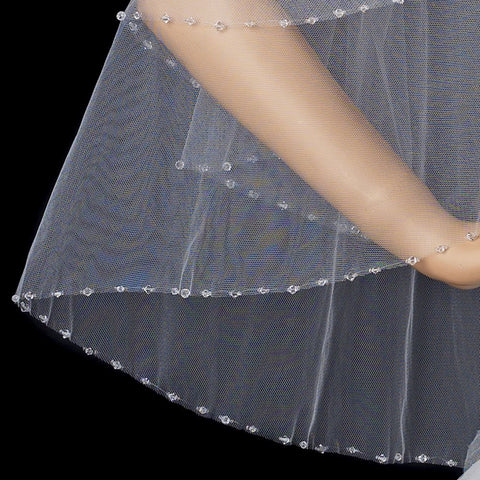 Double Tier Fingertip Length Bridal Wedding Veil with Swarovski Crystal Edge Accent 294