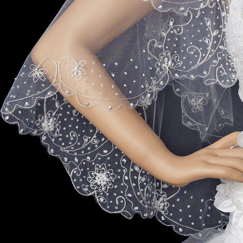 Double Layer Fingertip Length Scalloped Edge with Gold or Silver Stitching Floral Swirl Embroidery, Bugle Beads & Scattered Pearls Bridal Wedding Veil 2943 F