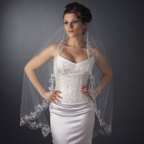 "Bridal Wedding Veil (42"" long x 72"" wide) Couture w/ elegant embroidery Bridal Wedding Veil 3286"