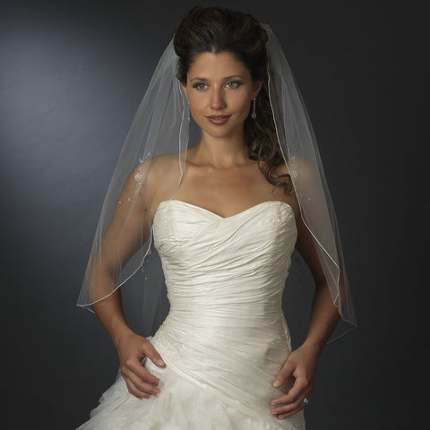 Single Layer Elbow Length Bridal Wedding Veil with Decadent Flower Accents & Beaded Edge 3379