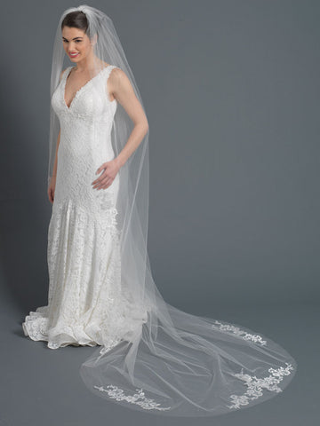 Single Layer Bridal Wedding Cathedral Veil Accented w/ Embroidered Lace & Rhinestones Veil 3434 1C