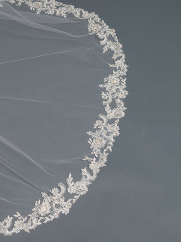 Single Layer Bridal Wedding Cathedral Veil Accented w/ Rum Pink Embroidered Lace & Rhinestones V 3481 1C