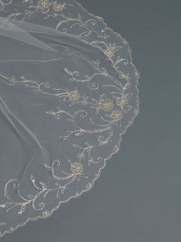 Single Layer Bridal Wedding Cathedral Veil Accented w/ Silver/Gold Embroidered Lace & Rhinestones & Bugle Beads V 3507 1C