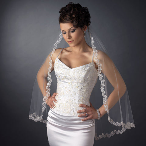 Single Layer Fingertip Length Scalloped Embroidered Edge with Bugle Beads Bridal Wedding Veil 3936 1F