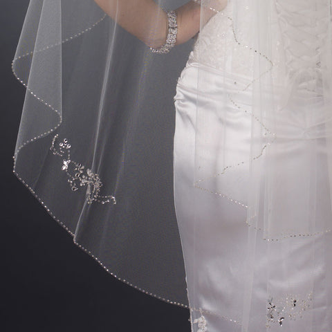Double Layer Fingertip Length Bugle Beaded Edge with Rhinestone Floral Design Bridal Wedding Veil 4433 F