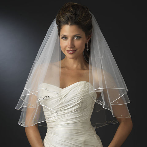 Double Layer Elbow Length Bridal Wedding Veil with Satin Corded Edge & Geometric Rhinestone Accents 4527