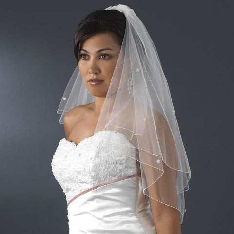 Double Tier Elbow & Fingertip Length Bridal Wedding Veil with Swarovski & Pearl Flower Accents & Pencil Edge 5000