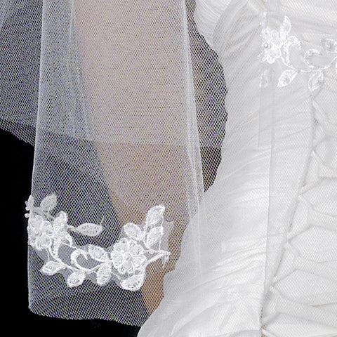 Double Layer Elbow Length Bridal Wedding Veil in Ivory with Flower Embroidery & Pearls