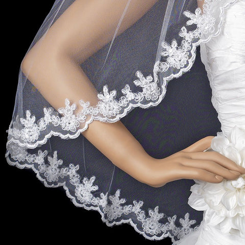 Intricate Single Layer Bridal Wedding Veil with Flower Embroidery Edge 591