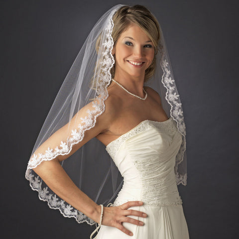 Single Layer Fingertip Length Bridal Wedding Veil with Scalloped Embroidered Edge 595