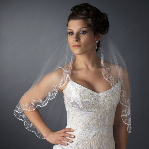 Single Layer Elbow Length w/ Scalloped Edge, crystals, bugle beads Bridal Wedding Veil 596 1E