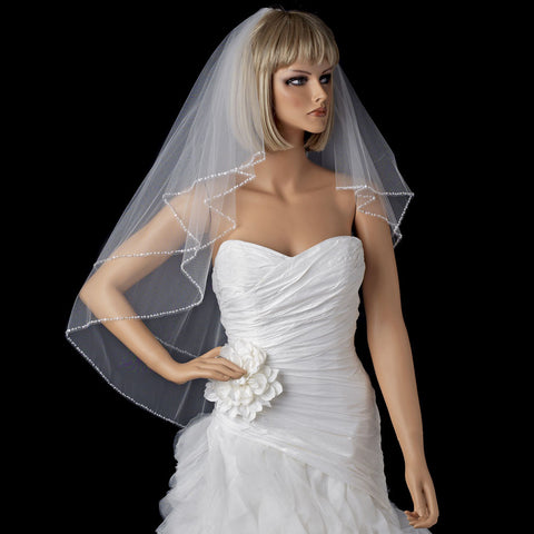 Exquisite Elbow Length Bridal Wedding Veil with Sequins & Bugle Beaded Edge in White or Ivory 643