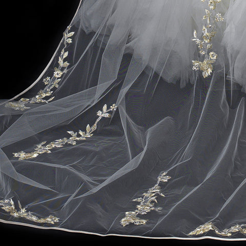 Single Layer Floral Embroidery Cathedral Length White Bridal Wedding Veil with Satin Ribbon Edge 882