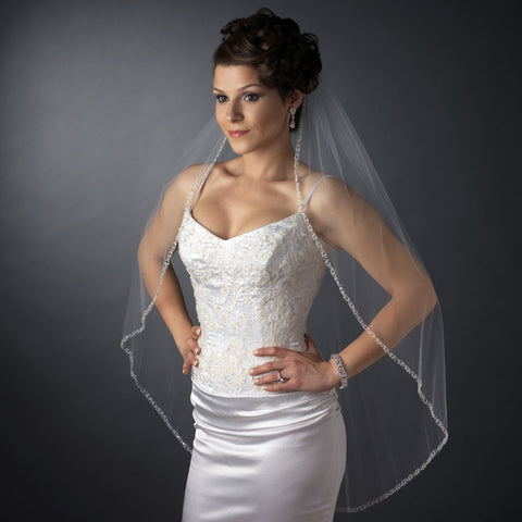 Bridal Wedding Single Layer Fingertip Length Bridal Wedding Veil 900 1F