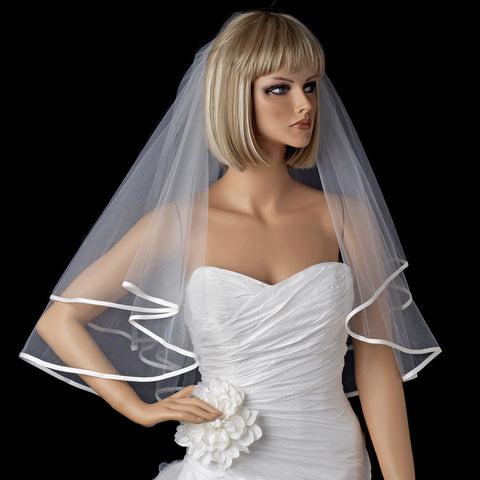 Bridal Wedding Double Layer Elbow Length Ribbon Edge Bridal Wedding Veil 947