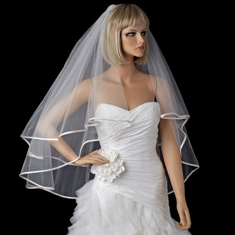 "Bridal Wedding Veil 948 Ivory - Fingertip (30"" x 36"" long)"