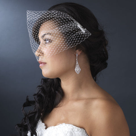 Fine Single Layer Birdcage Face Bridal Wedding Veil with Side Bridal Wedding Hair Comb in White or Ivory 1893