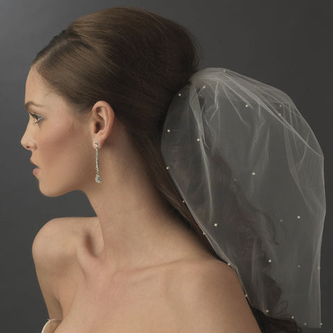Single Tier Fine Birdcage Face Bridal Wedding Veil Scattered with Pearls 501