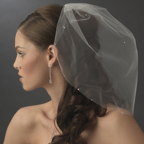 Single Tier Fine Birdcage Face Bridal Wedding Veil Softly Scattered with Rhinestones 502