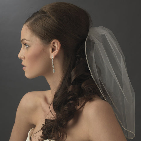 Single Layer Fine Birdcage Face Bridal Wedding Veil with Glistening Rhinestone Edge 503